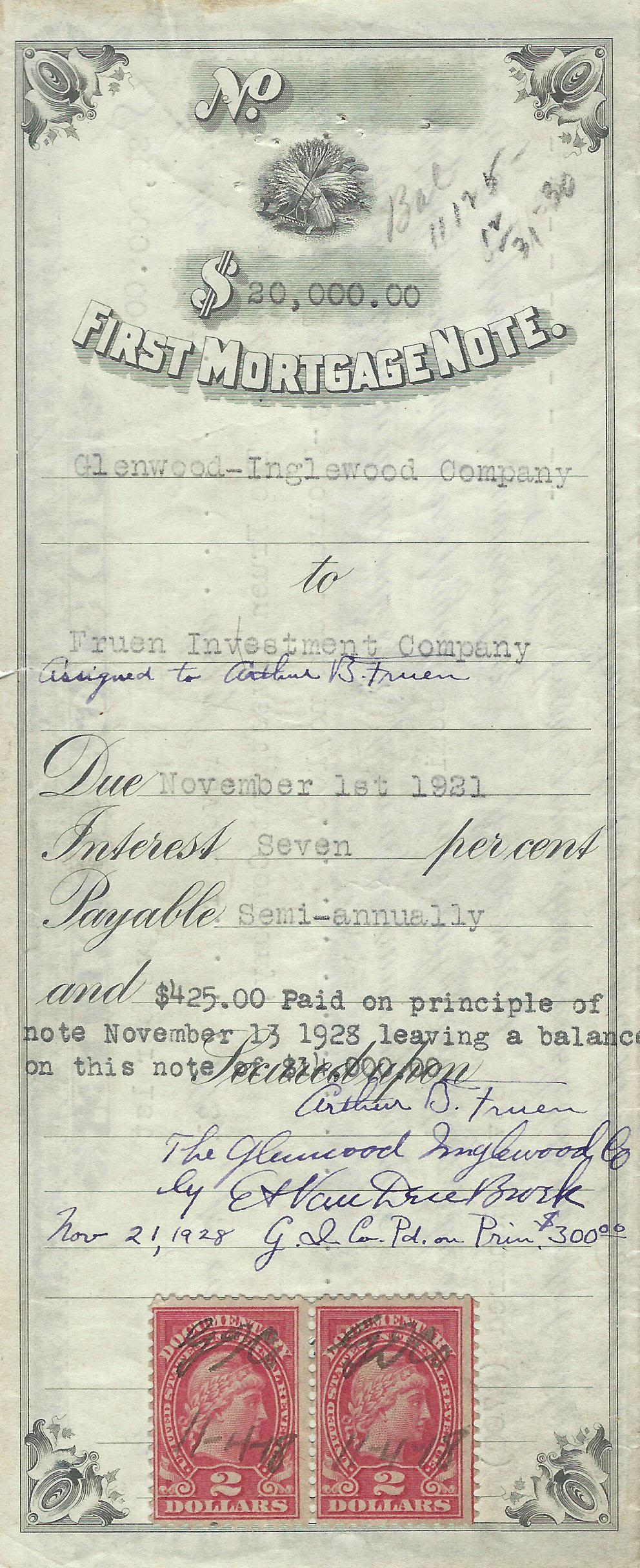 The Glenwood-Inglewood Company purchased the propertry from the Fruen Investment Company for $20,000 in 1921.