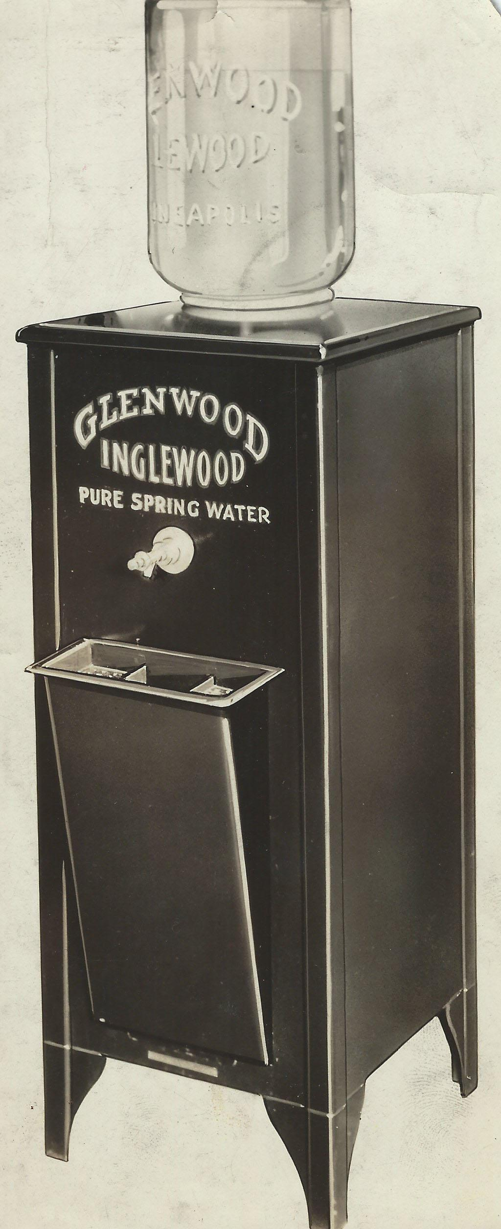 An old-fashioned water cooler from the Glenwood Inglewood Water Company.