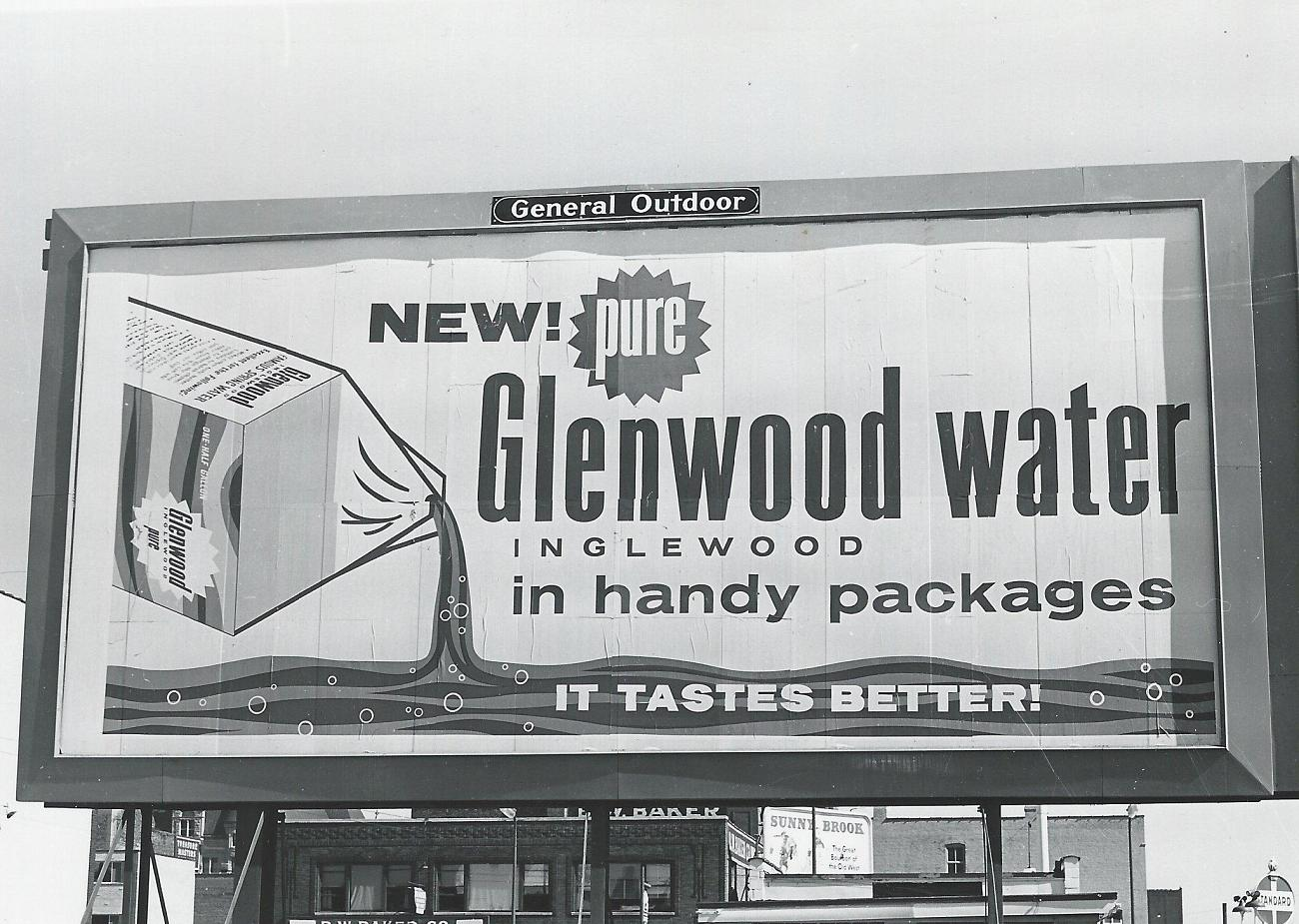 This is one of the Glenwood-Inglewood billboards one may have seen around town in the 1950's and 1960's. Their ads were great at catching the eye of the consumer.